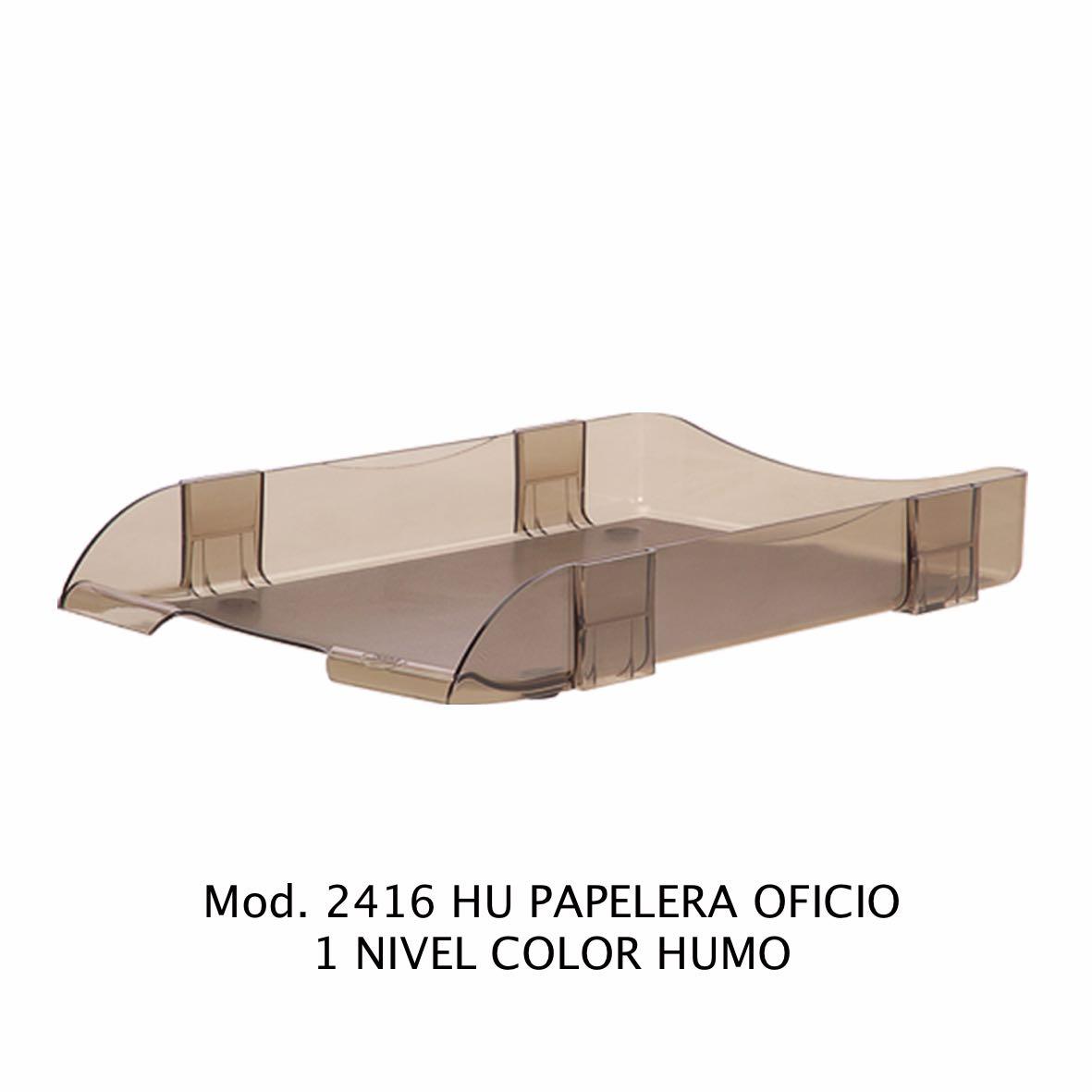 Charola de escritorio tamaño oficio de 1 nivel color humo Modelo 2416 HU - Sablón
