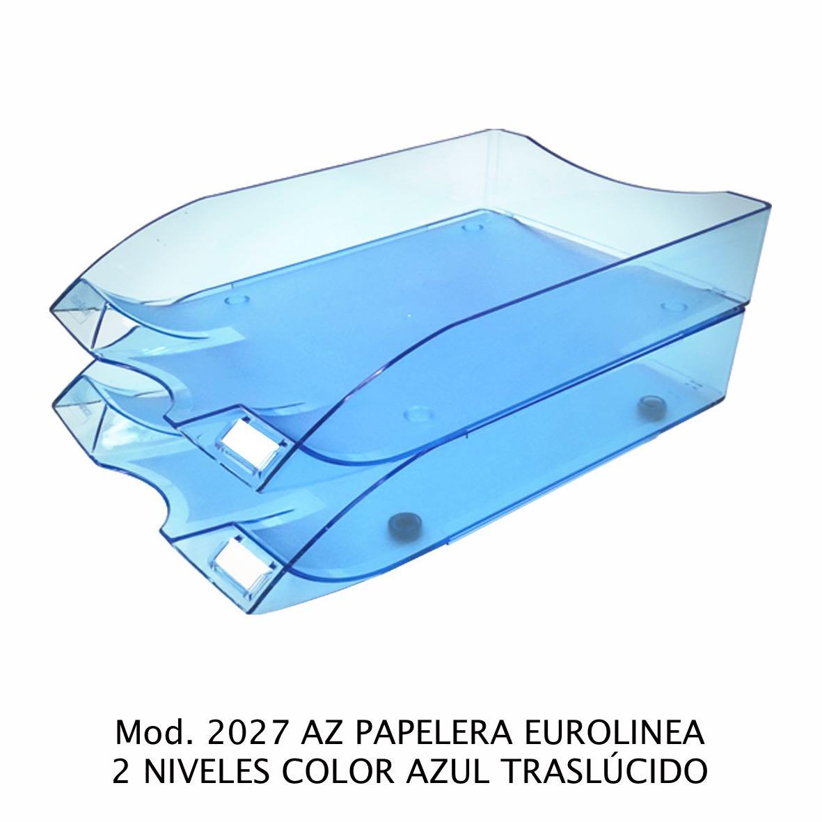 Charola de escritorio tamaño oficio de 2 niveles color azul traslúcido Eurolínea Modelo 2027 AZ - Sablón