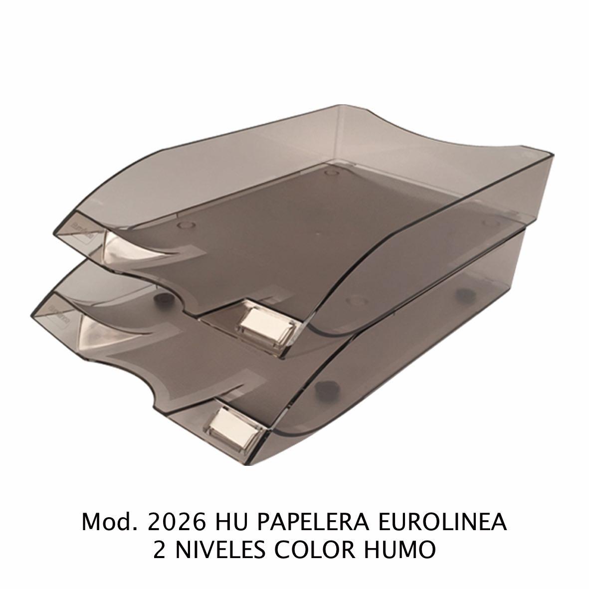 Charola de escritorio tamaño oficio de 2 niveles color humo Eurolínea Modelo 2026 HU - Sablón