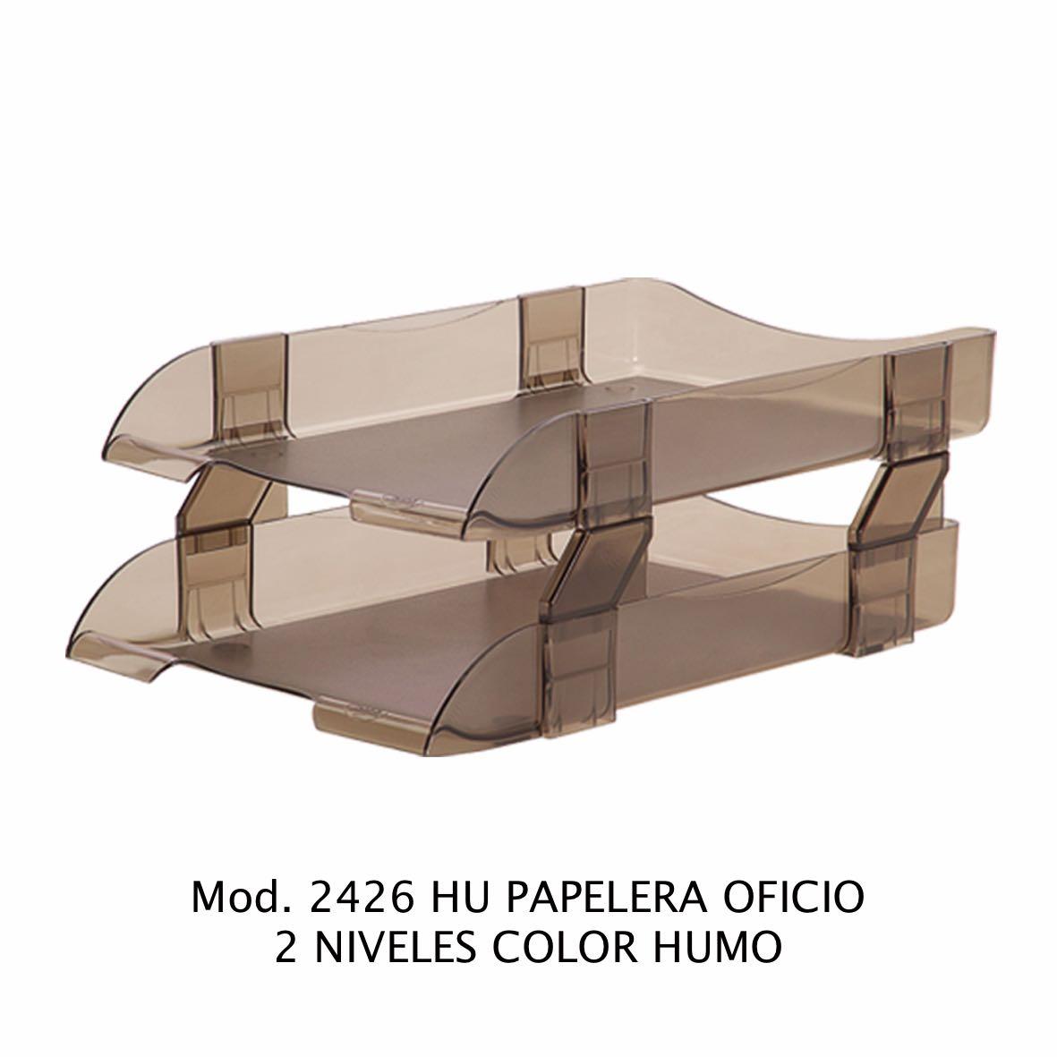 Charola de escritorio tamaño oficio de 2 niveles color humo Modelo 2426 HU - Sablón