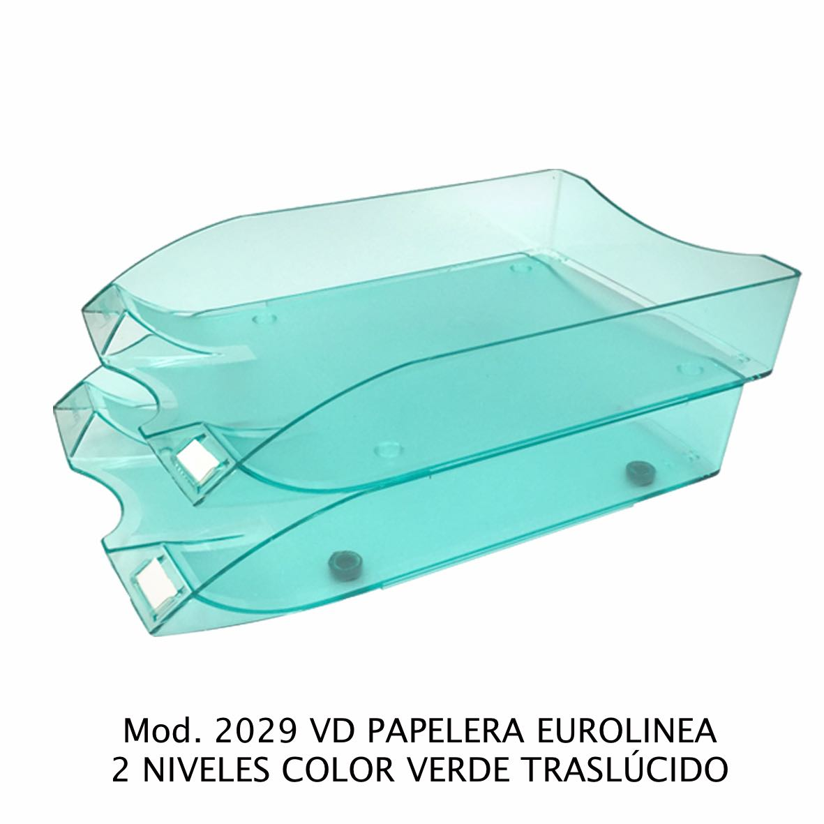 Charola de escritorio tamaño oficio de 2 niveles color verde traslúcido Eurolínea Modelo2029 VD - Sablón