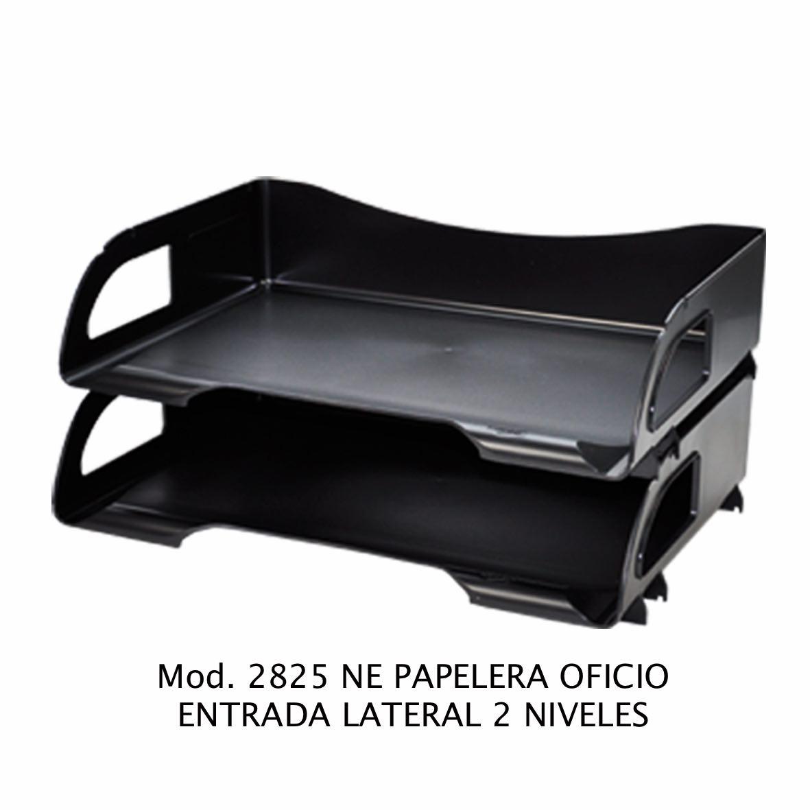 Charola de escritorio tamaño oficio de 2 niveles con entrada lateral color negro Modelo 2825 NE - Sablón