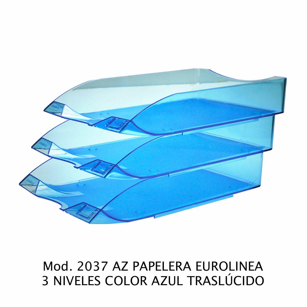 Charola de escritorio tamaño oficio de 3 niveles color azul traslúcido Eurolínea Modelo 2037 AZ - Sablón