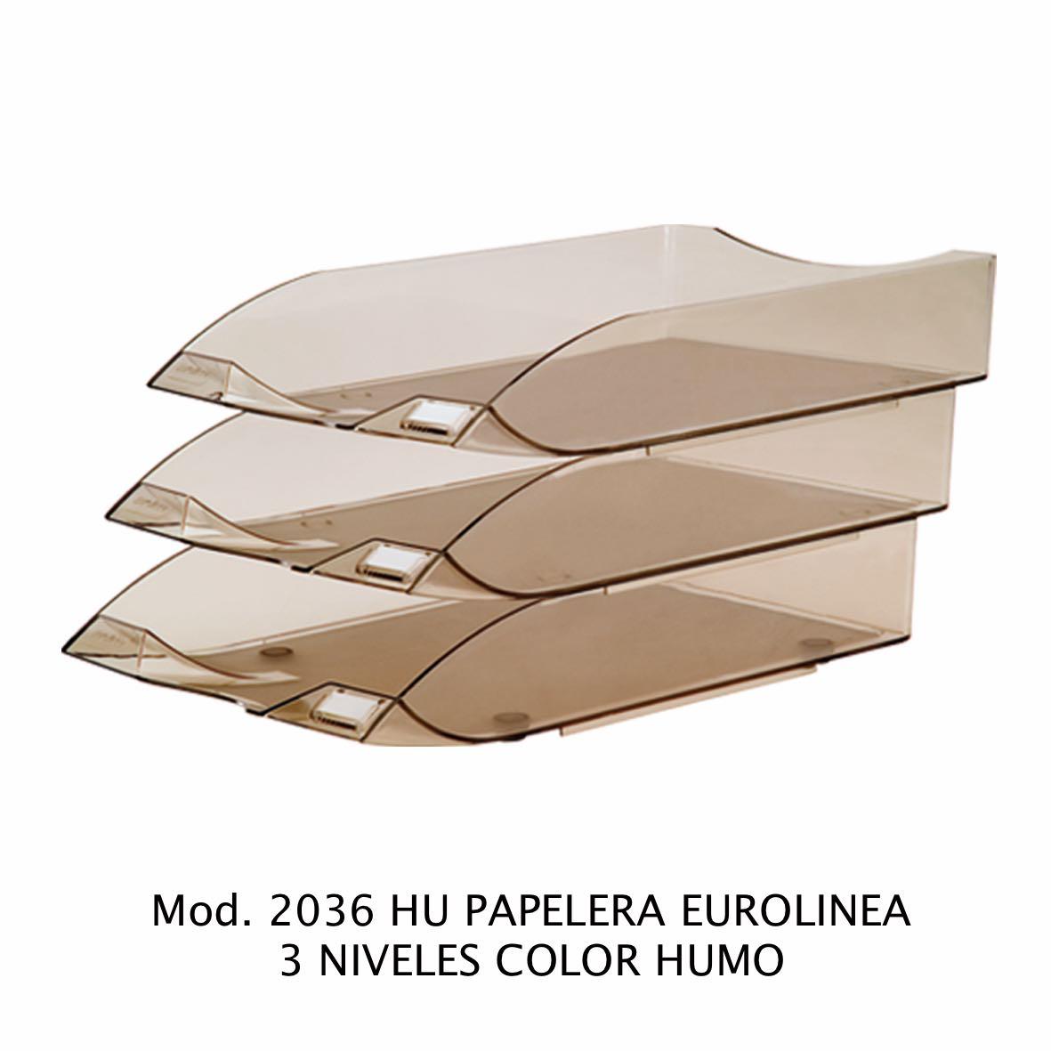 Charola de escritorio tamaño oficio de 3 niveles color humo Eurolínea Modelo 2036 HU - Sablón