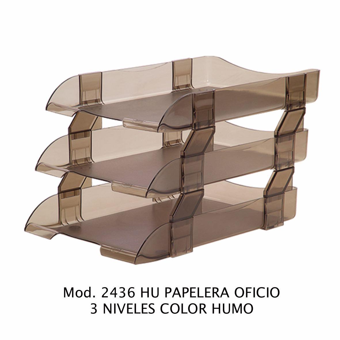 Charola de escritorio tamaño oficio de 3 niveles color humo Modelo 2436 HU - Sablón