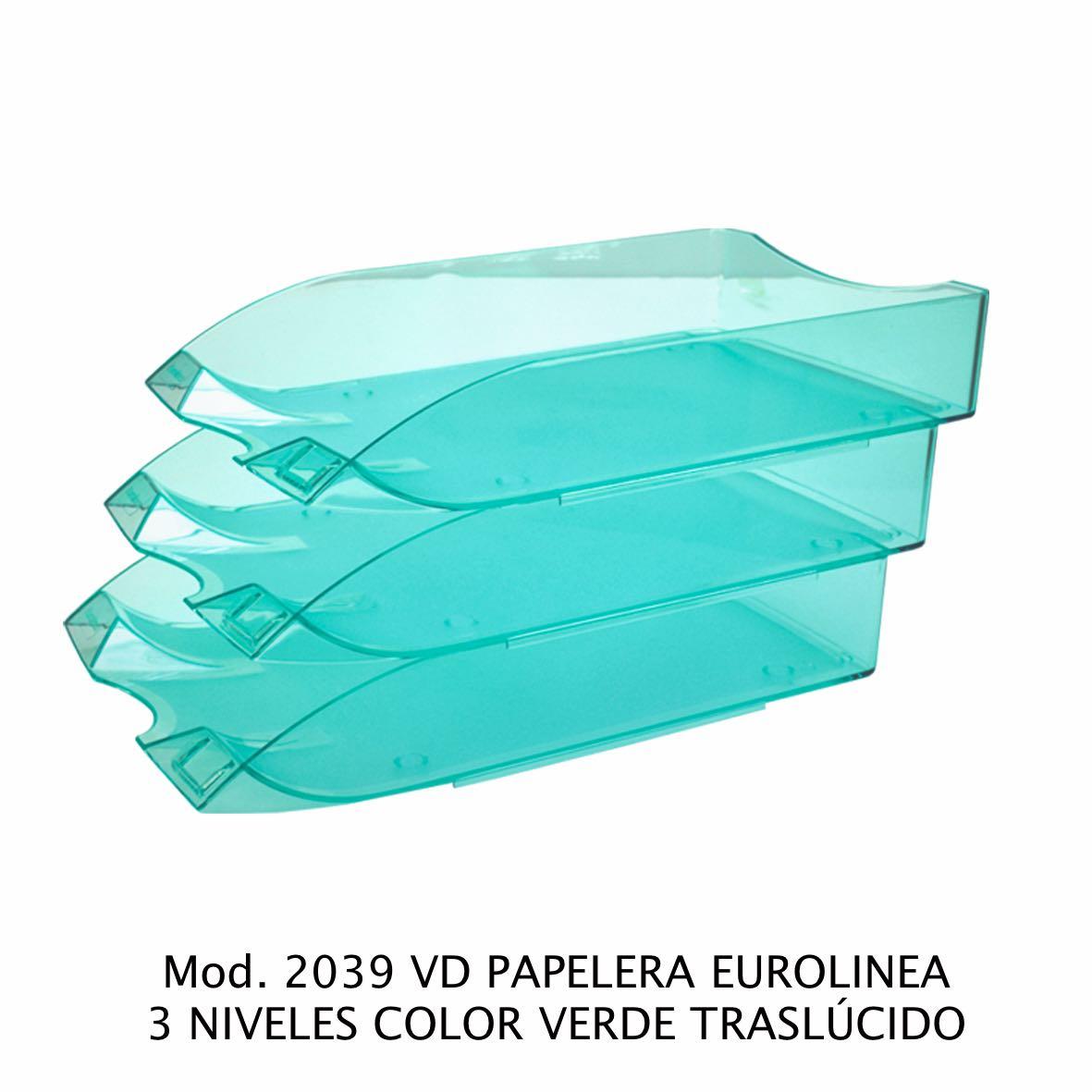 Charola de escritorio tamaño oficio de 3 niveles color verde traslúcido Eurolínea Modelo 2039 VD - Sablón