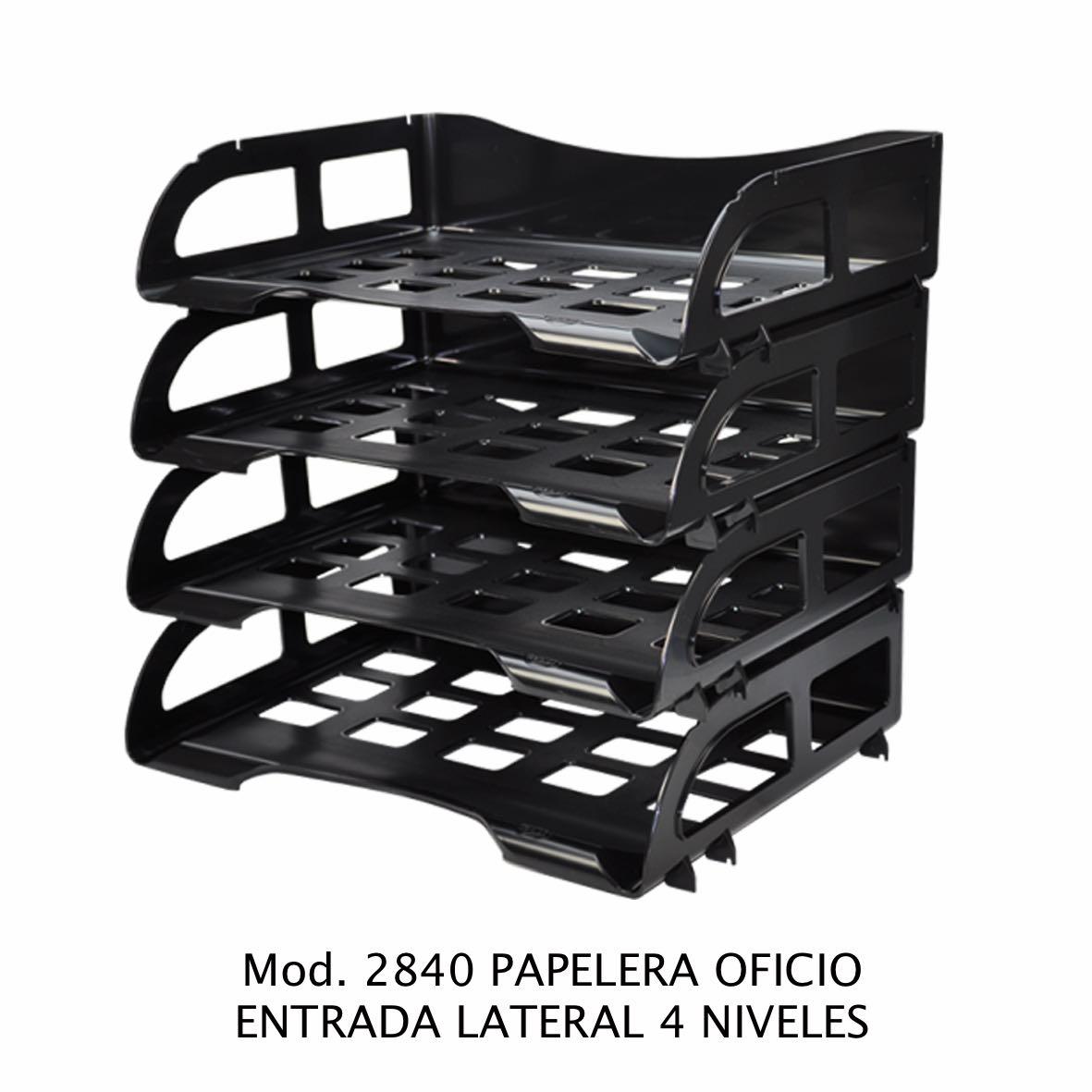Charola de escritorio tamaño oficio de 4 niveles con entrada lateral color negro Modelo 2840 - Sablón
