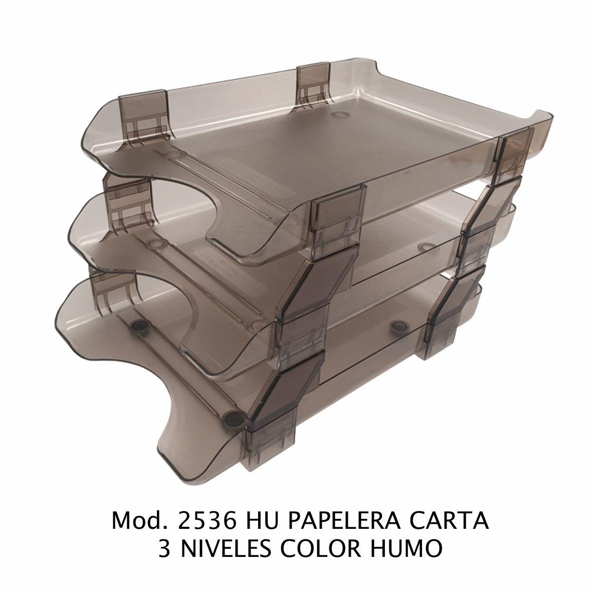 Charola papelera color humo tamaño carta de 3 niveles Modelo 2536 HU - Sablón