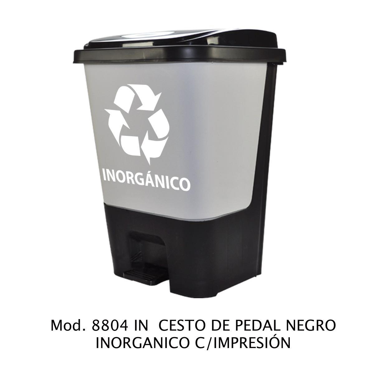 Bote de basura de pedal color negro para inorgánico modelo 8804 IN con Impresión - Sablón