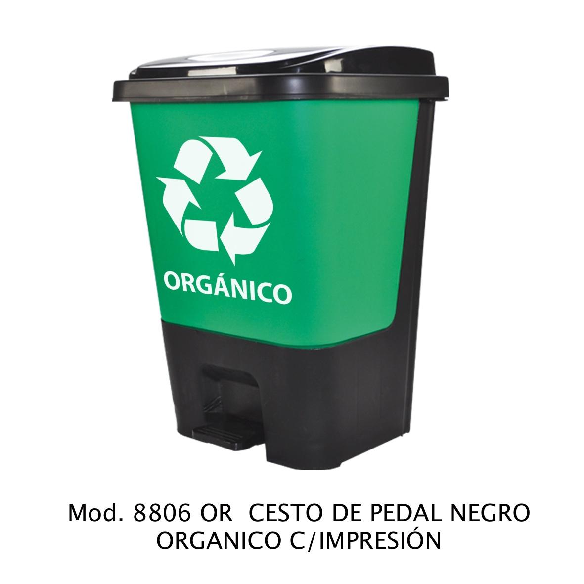 Bote de basura de pedal color negro para orgánico modelo 8806 OR con Impresión - Sablón