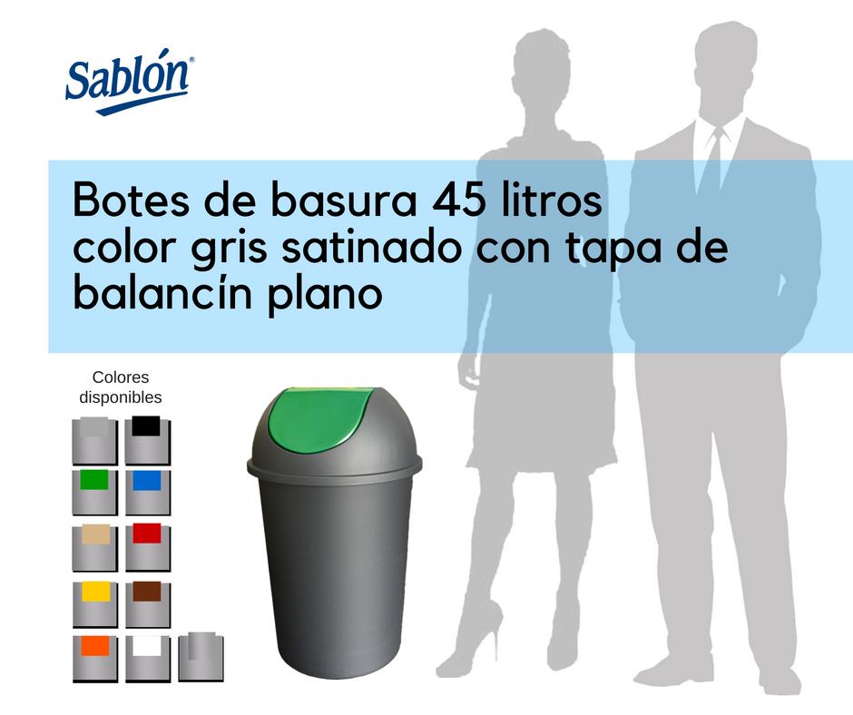 Botes de basura de 45 litros gris satinado redondos con balancín liso Sablón