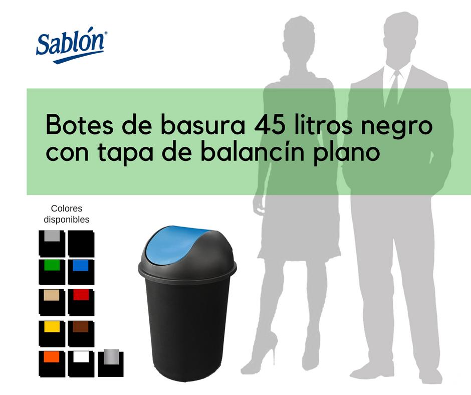 Botes de basura de 45 litros negro redondos con balancín liso Sablón