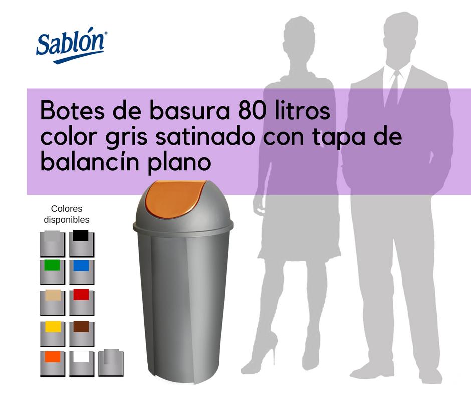 Botes de basura de 80 litros gris satinado redondos con balancín liso Sablón