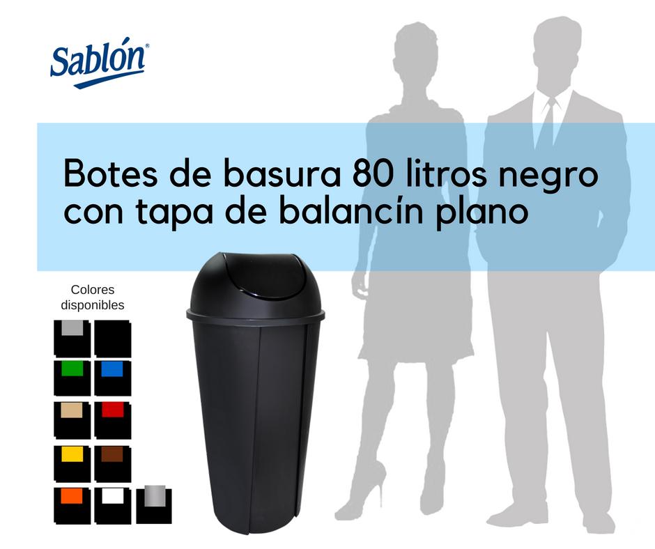 Botes de basura de 80 litros negro redondos con balancín liso Sablón