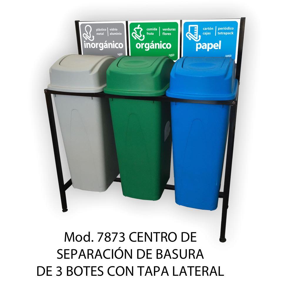 Centro de separación de basura con 3 botes de basura de tapa lateral - Sablón
