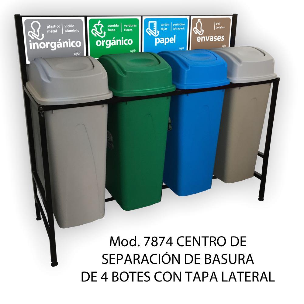 Centro de separación de basura con 4 botes de basura de tapa lateral - Sablón