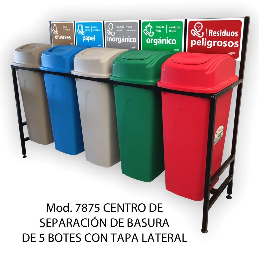 Centro de separación de basura con 5 botes de basura de tapa lateral - Sablón