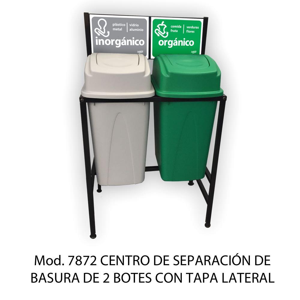 Centros de separación de basura con 2 botes de basura de tapa lateral - Sablón
