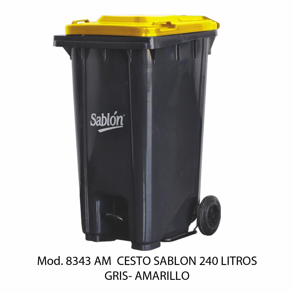 Contenedor de gran capacidad con cuerpo gris y tapa amarilla - Modelo 8343 AM - Sablón