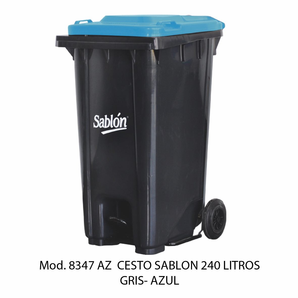 Contenedor de gran capacidad con cuerpo gris y tapa azul - Modelo 8347 AZ - Sablón