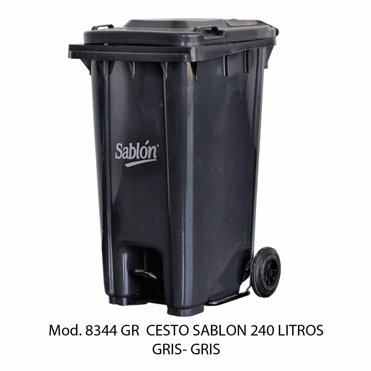 Contenedor de gran capacidad con cuerpo gris y tapa gris - Modelo 8344 GR - Sablón