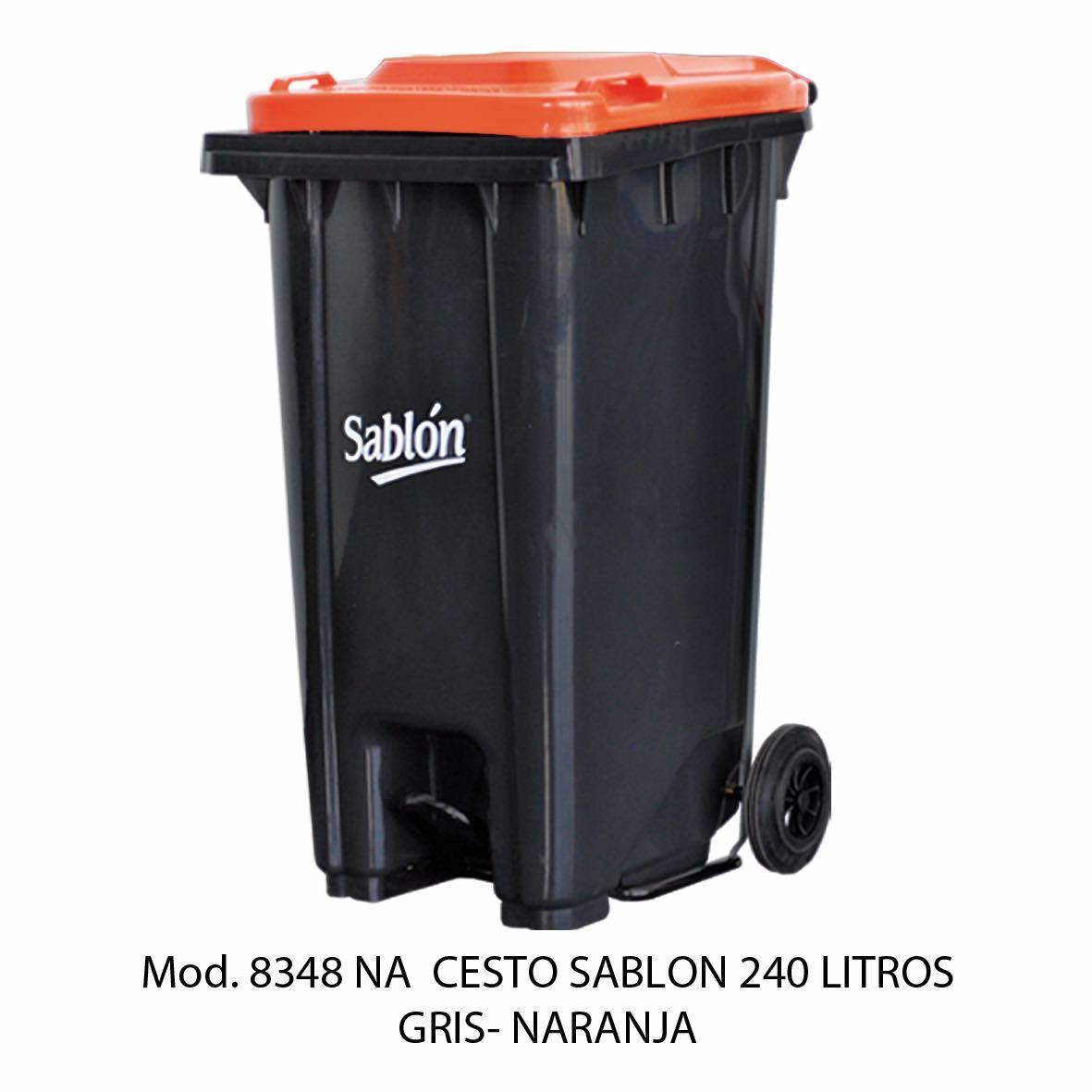 Contenedor de gran capacidad con cuerpo gris y tapa naranja - Modelo 8348 NA - Sablón