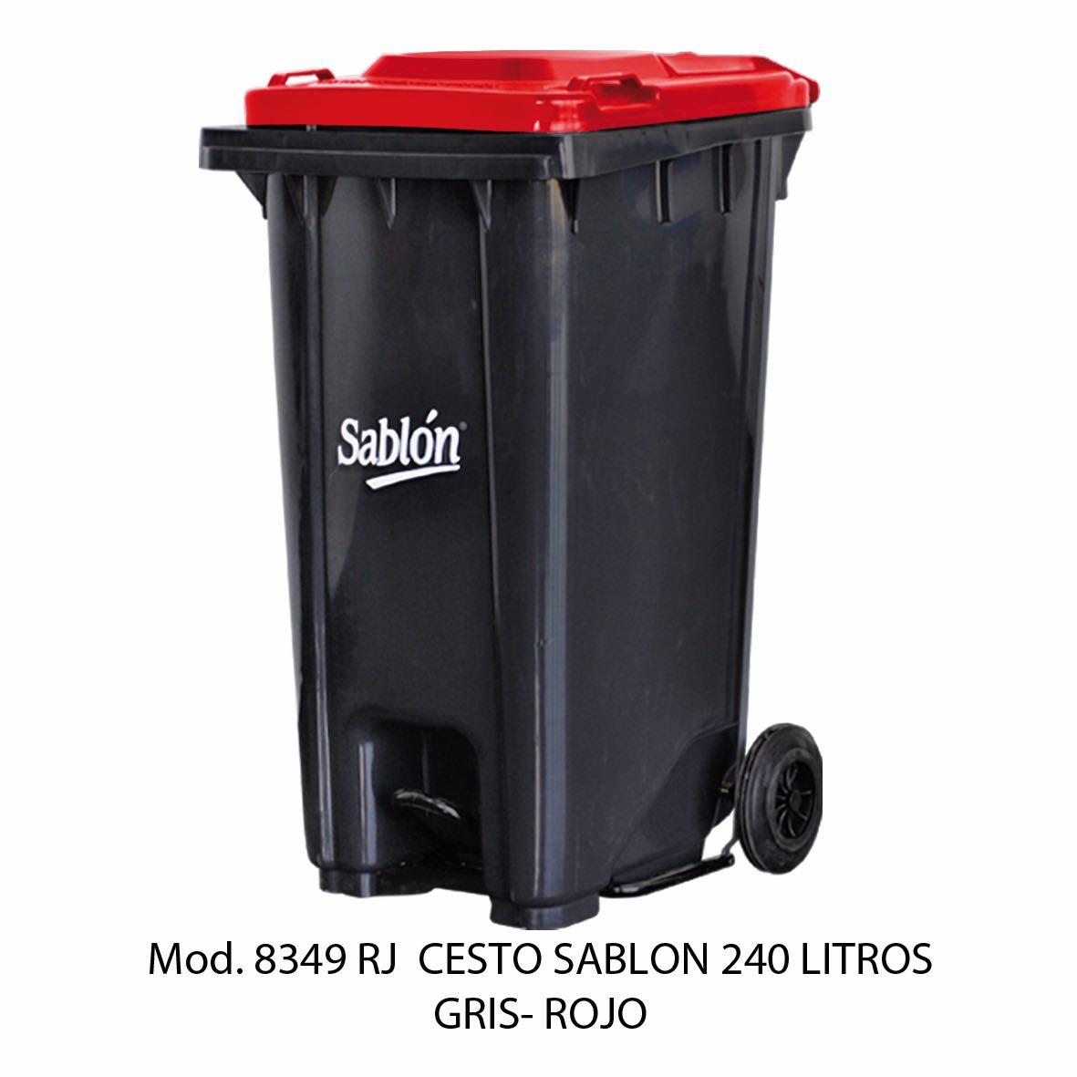 Contenedor de gran capacidad con cuerpo gris y tapa roja - Modelo 8349 RJ - Sablon