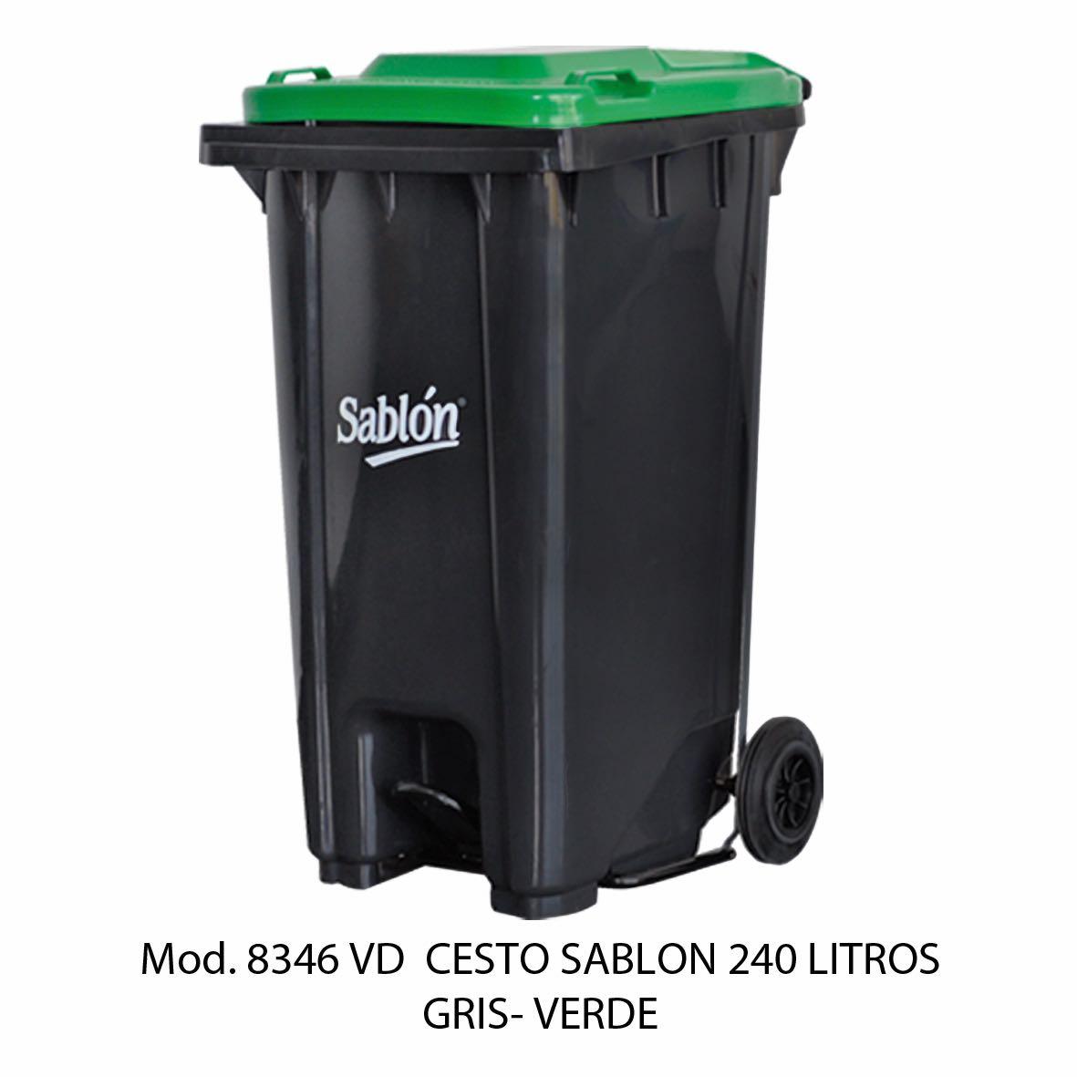 Contenedor de gran capacidad con cuerpo gris y tapa verde - Modelo 8346 VD - Sablón