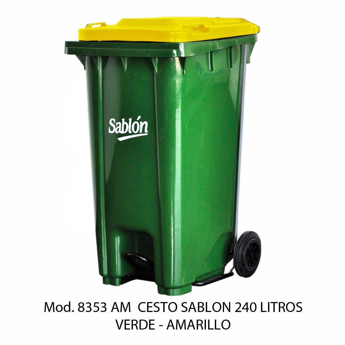 Contenedor de gran capacidad con cuerpo verde y tapa amarilla - Modelo 8353 AM - Sablón