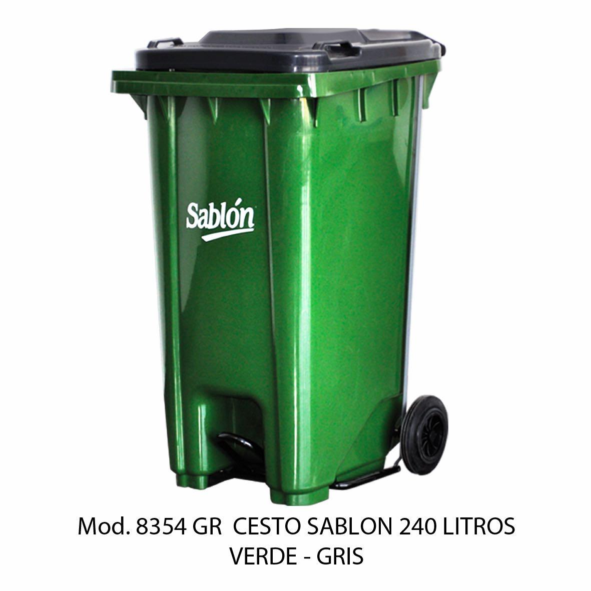 Contenedor de gran capacidad con cuerpo verde y tapa gris - Modelo 8354 GR - Sablón