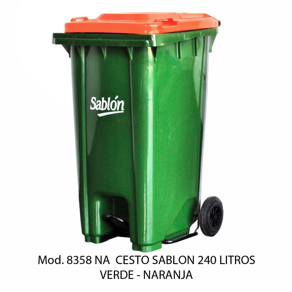 Contenedor de gran capacidad con cuerpo verde y tapa naranja - Modelo 8358 NA - Sablón