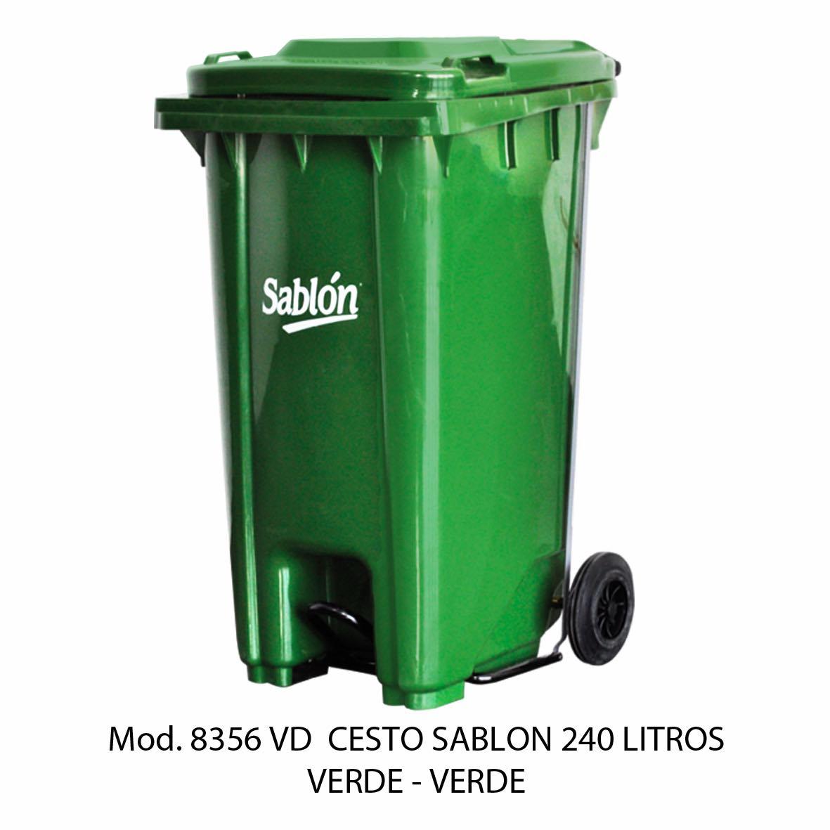 Contenedor de gran capacidad con cuerpo verde y tapa verde - Modelo 8356 VD - Sablón