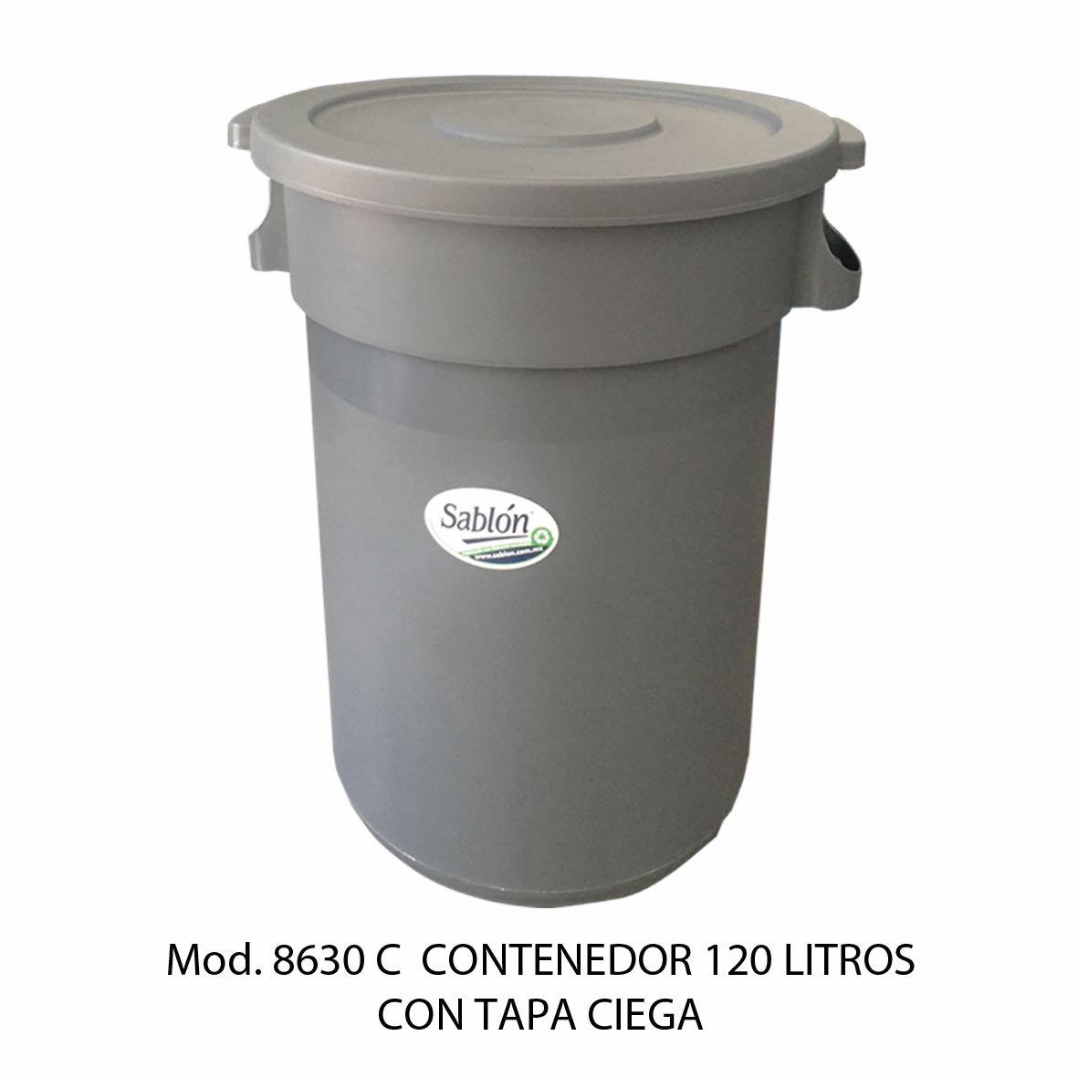 Contenedor para basura de 120 litros con tapa ciega - Modelo 8630 C - Sablón