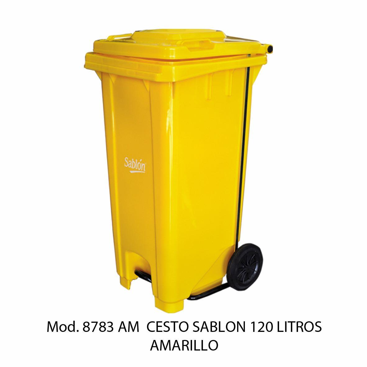 Contenedor para basura de 120 litros cuerpo amarillo y tapa amarillo - Modelo 8783 AM - Sablón