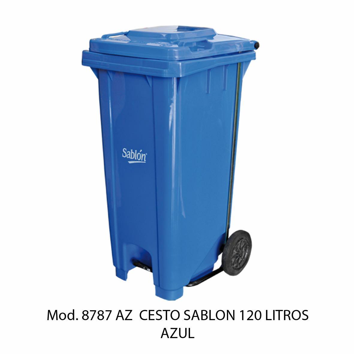 Contenedor para basura de 120 litros cuerpo azul y tapa azul - Modelo 8787 AZ - Sablón