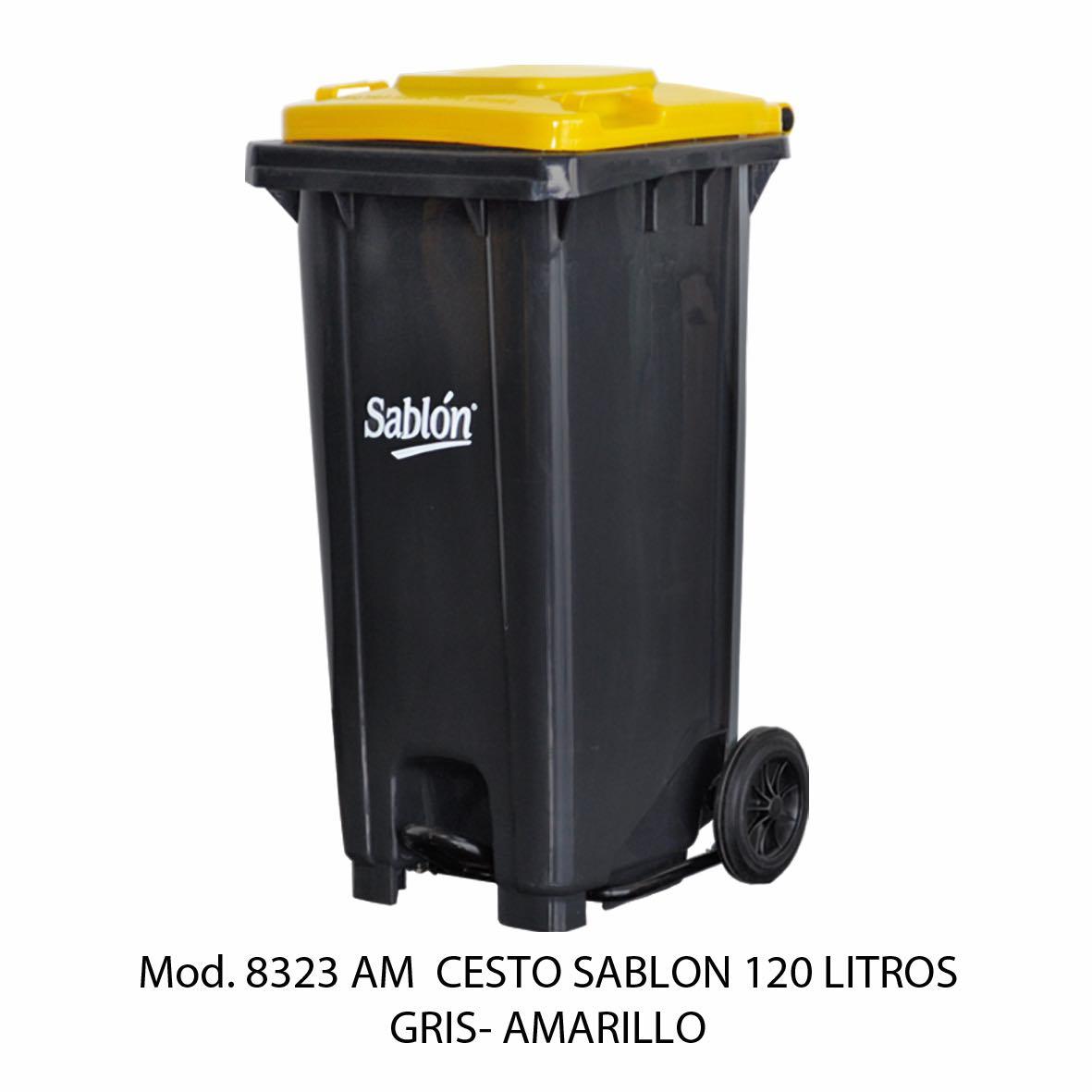 Contenedor para basura de 120 litros cuerpo gris y tapa amarilla - Modelo 8323 AM - Sablón