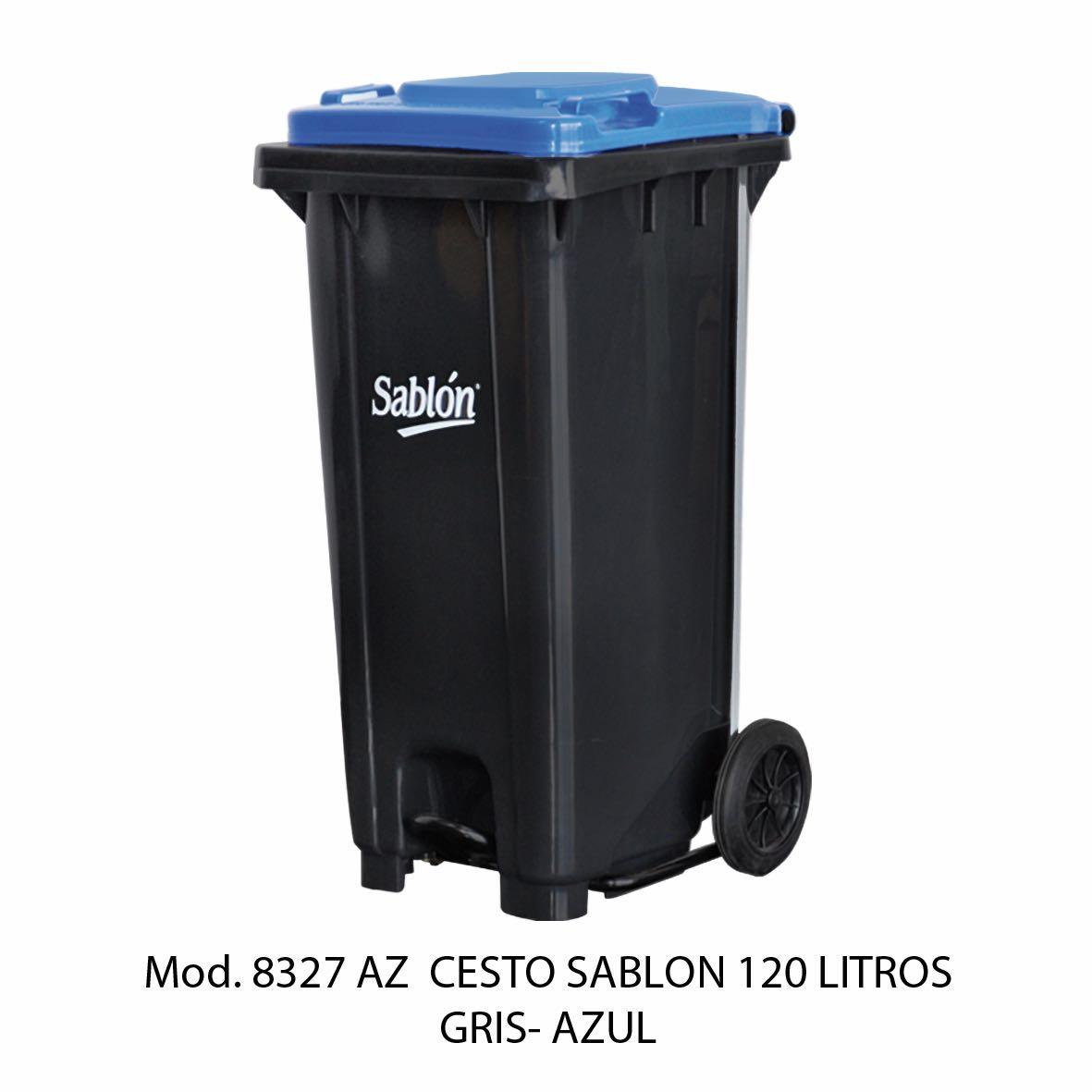 Contenedor para basura de 120 litros cuerpo gris y tapa azul - Modelo 8327 AZ - Sablón