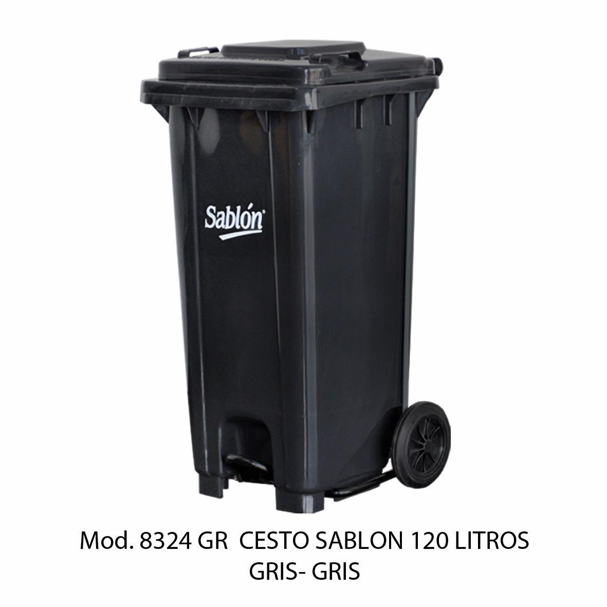 Contenedor para basura de 120 litros cuerpo gris y tapa gris - Modelo 8324 GR - Sablón