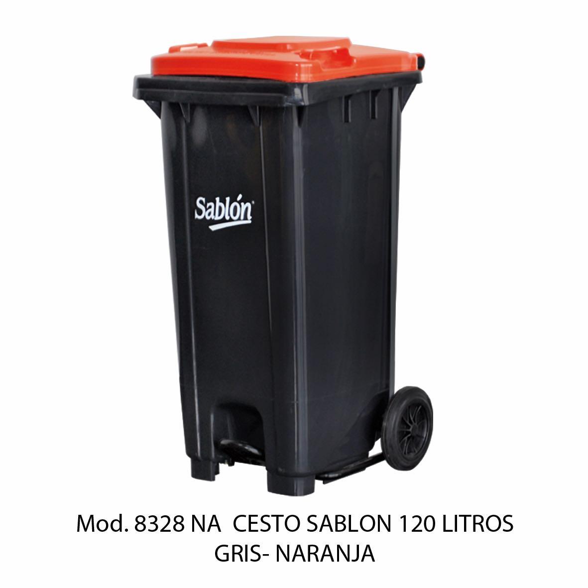 Contenedor para basura de 120 litros cuerpo gris y tapa naranja - Modelo 8328 NA - Sablón