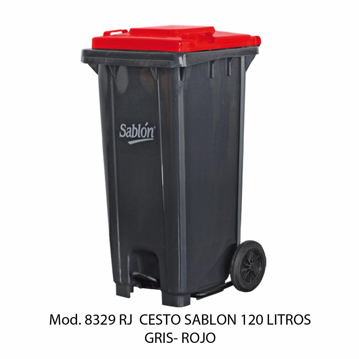 Contenedor para basura de 120 litros cuerpo gris y tapa rojo - Modelo 8329 RJ - Sablón