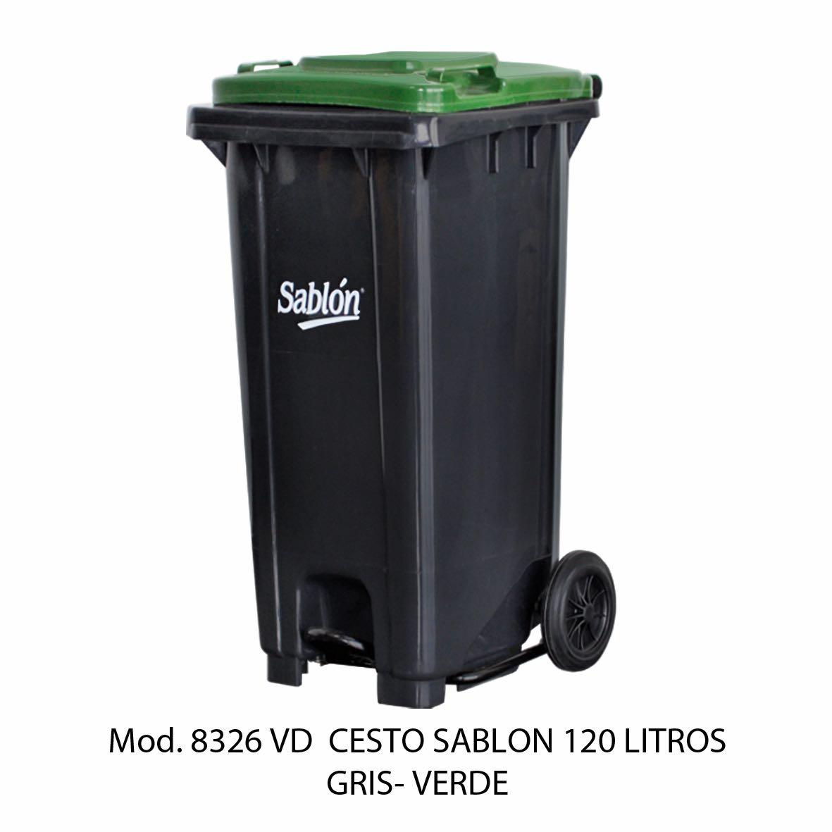 Contenedor para basura de 120 litros cuerpo gris y tapa verde - Modelo 8326 VD - Sablón