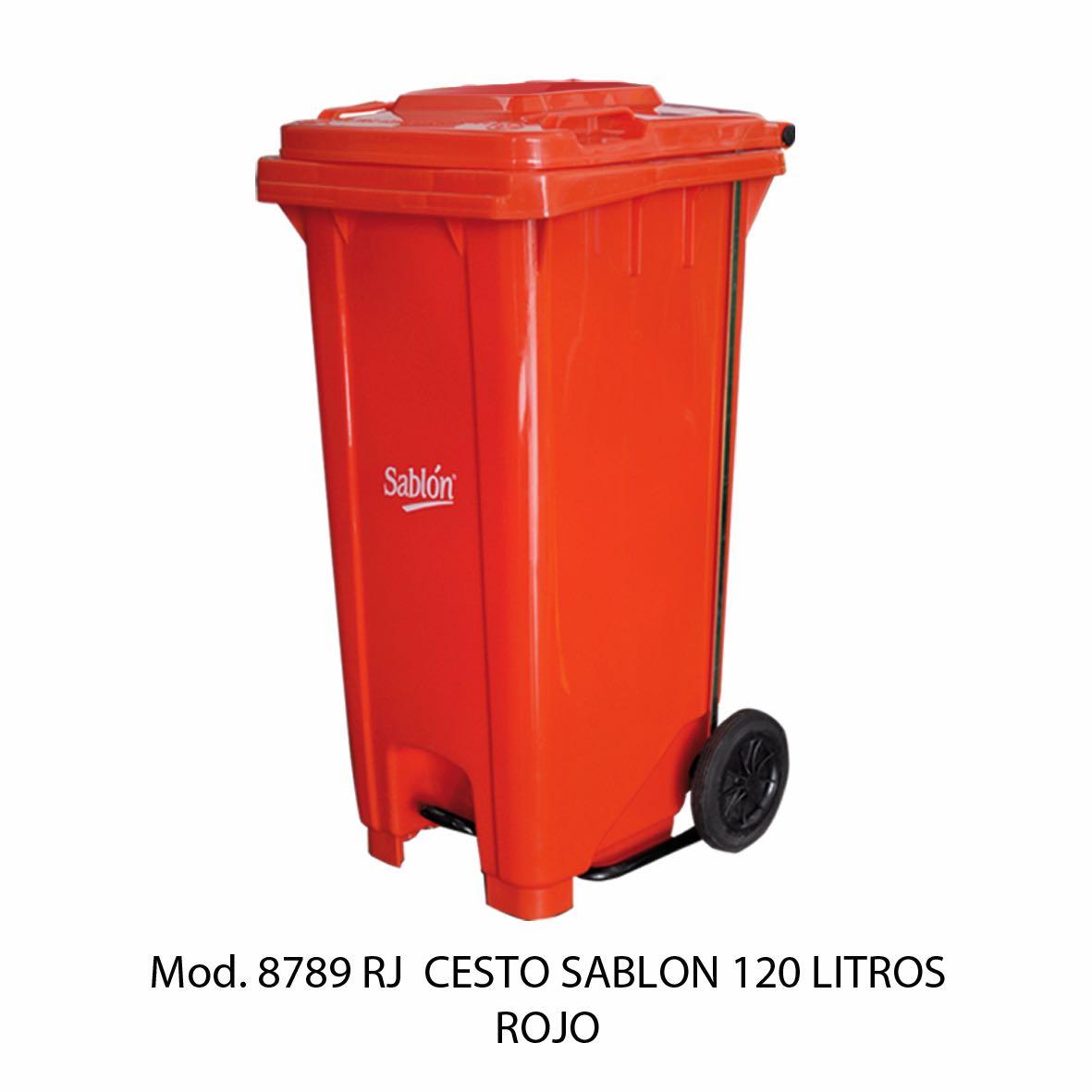 Contenedor para basura de 120 litros cuerpo rojo y tapa rojo - Modelo 8789 RJ - Sablón