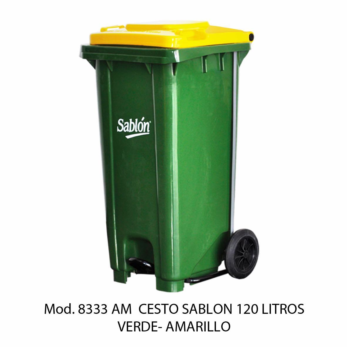 Contenedor para basura de 120 litros cuerpo verde y tapa amarilla - Modelo 8333 AM - Sablón