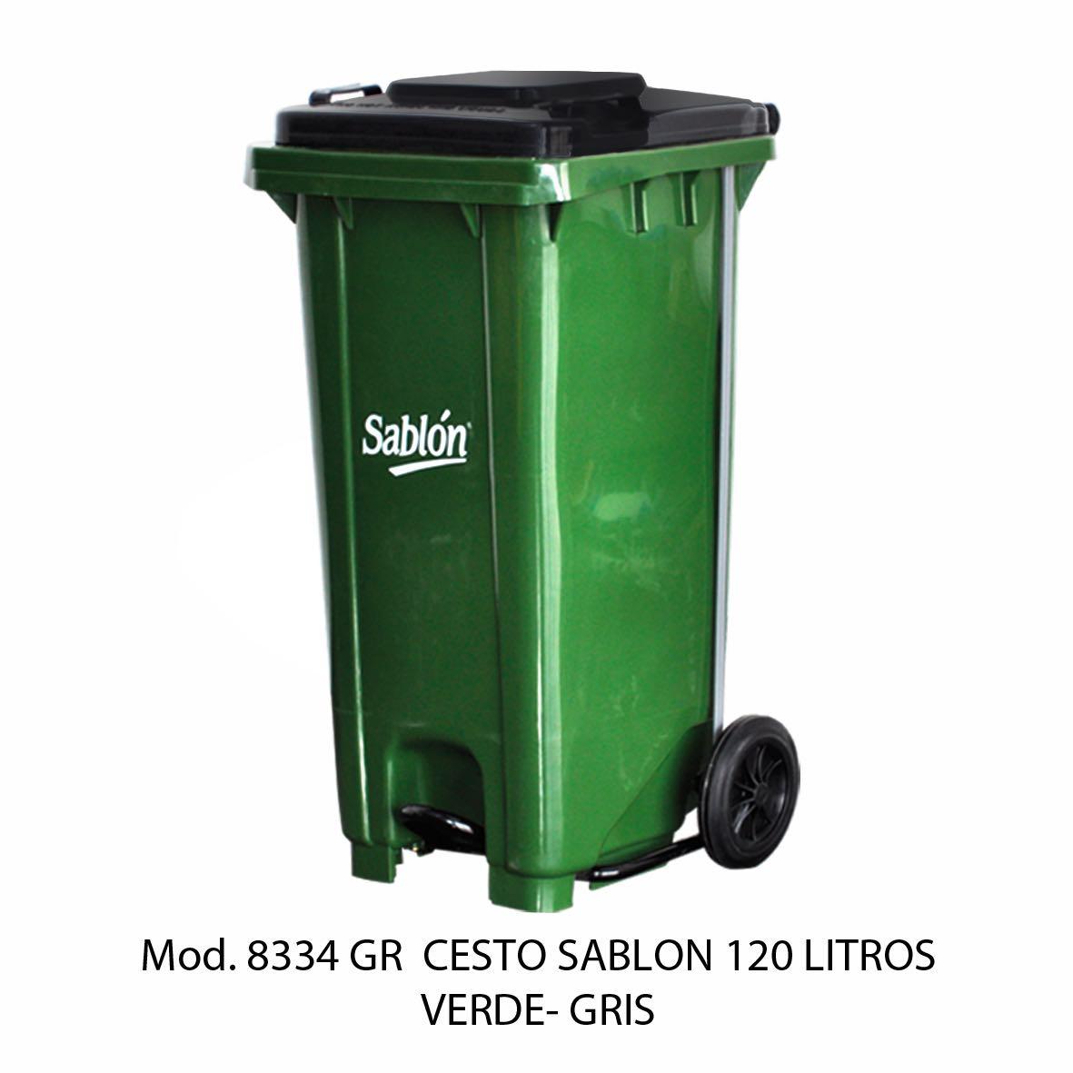 Contenedor para basura de 120 litros cuerpo verde y tapa gris - Modelo 8334 GR - Sablón