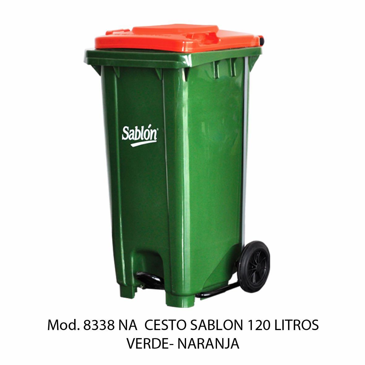 Contenedor para basura de 120 litros cuerpo verde y tapa naranja - Modelo 8338 NA - Sablón