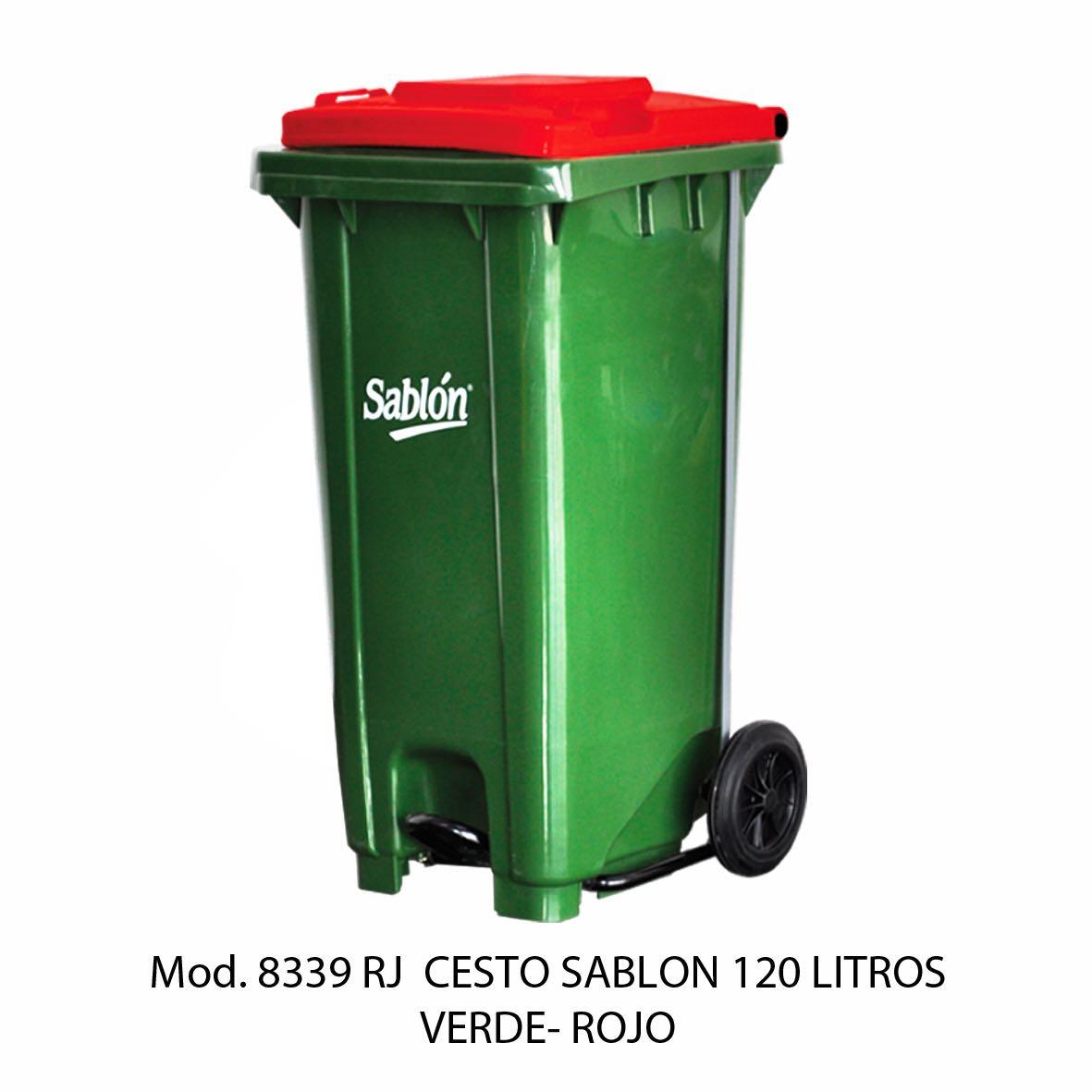 Contenedor para basura de 120 litros cuerpo verde y tapa rojo - Modelo 8339 RJ - Sablón