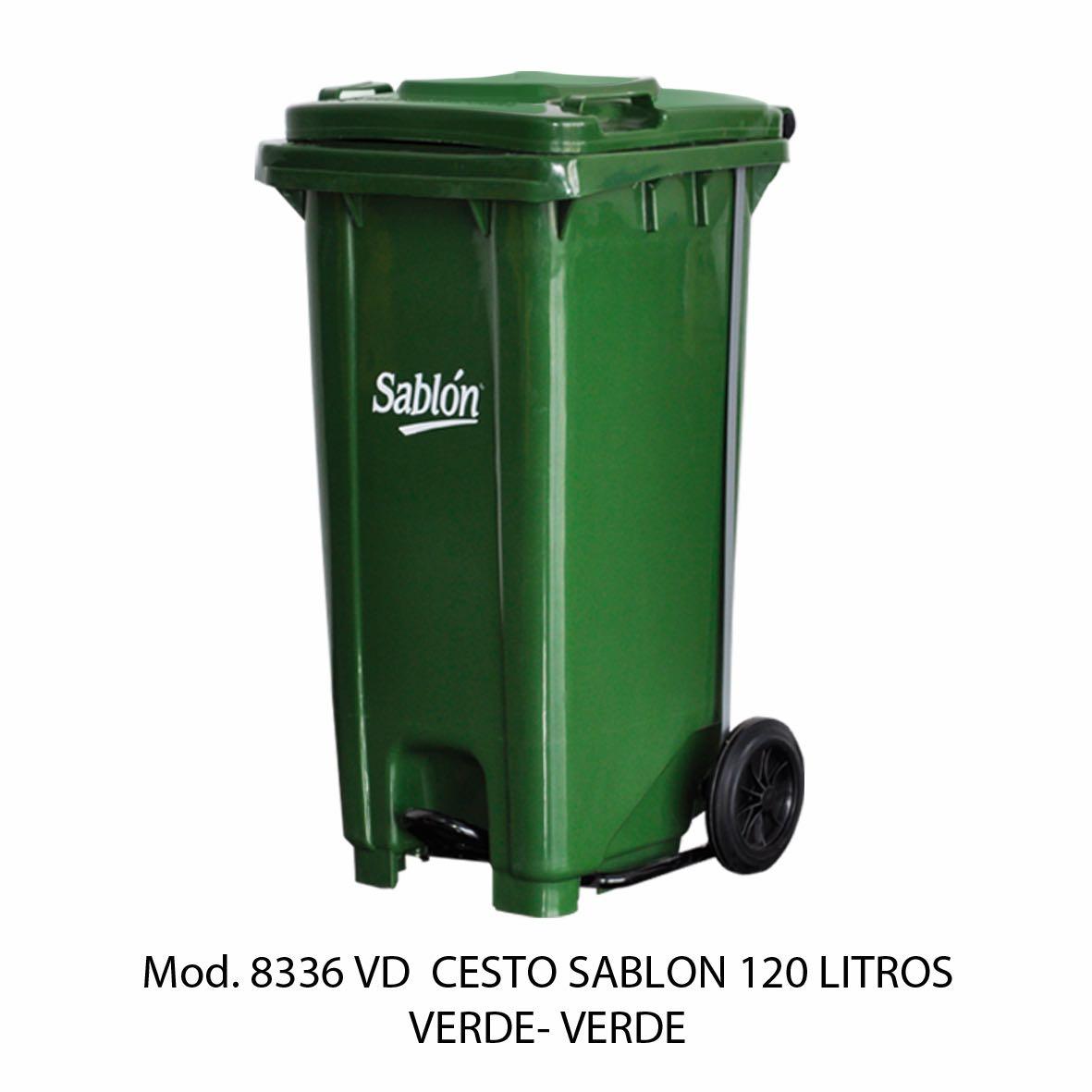 Contenedor para basura de 120 litros cuerpo verde y tapa verde - Modelo 8336 VD - Sablón