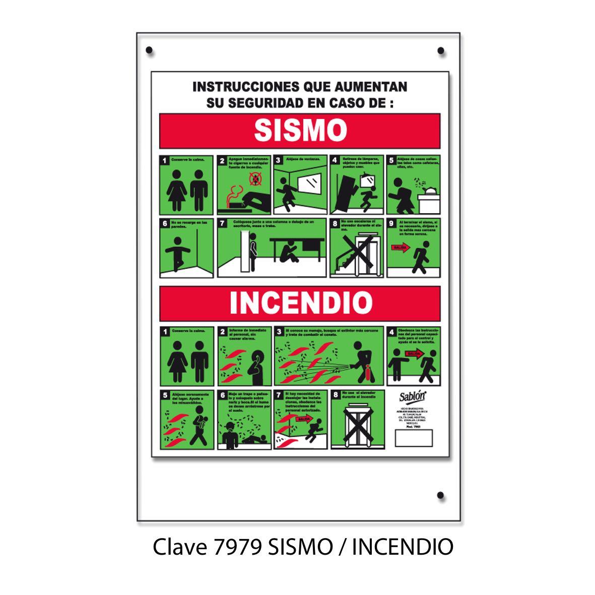 Qué hacer en caso de Sismo e Incendio Modelo 7979 - Sablón