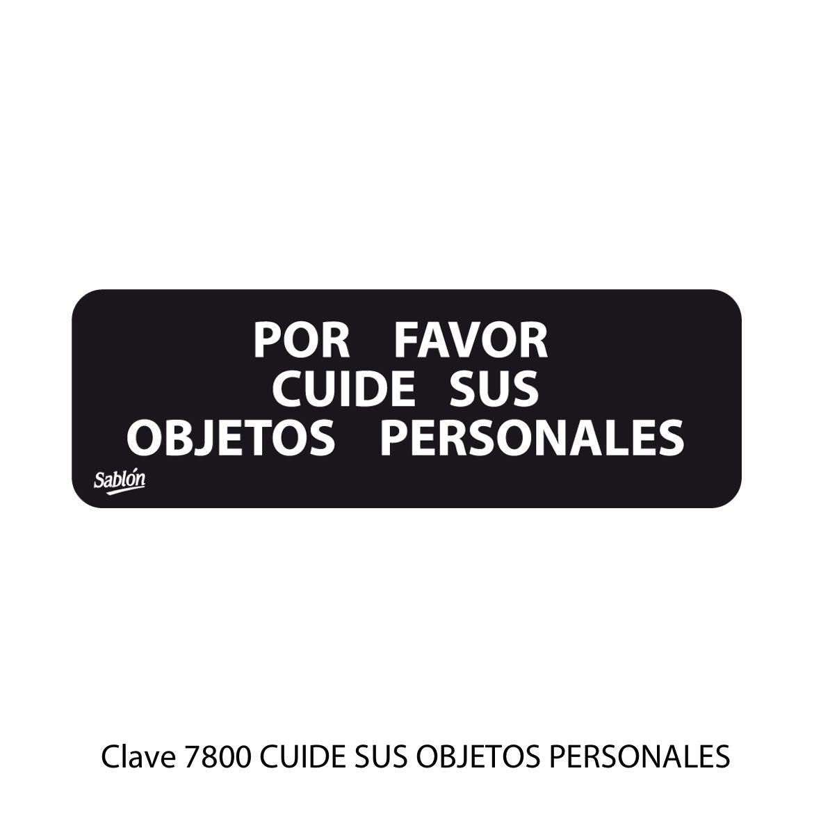 Señal Cuide sus Objetos Personales Modelo 7800 - Sablón