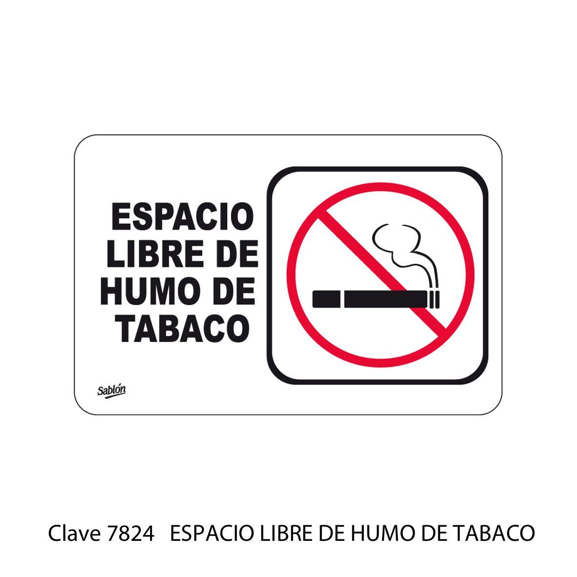 Señal Espacio Libre de tabaco Modelo 7824 - Sablón